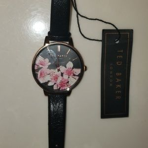 Ted Baker NWT Black rosegold and leather watch